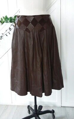 Vintage Brown Genuine Leather Skirt With Pockets Pleats Patchwork