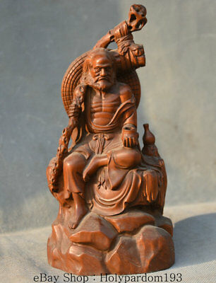 """7.2"""" Old Chinese Boxwood Wood Carved Seat Luohan arhat Damo Bodhidharma Statue"""