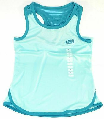 New Skechers Active Wear Girls Tank Top Size 10-12 In Glacier Bali Blue