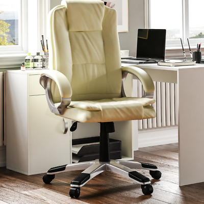 Executive Office Chair Gaming Computer Home Swivel Leather Adjustable Desk Cream