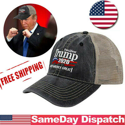 Trump 2020 MAGA Embroidered Hat Keep America Great Again Mesh Cap Adjustable USA