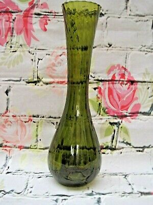 Italian Empoli Tall Hand Blown Olive Green Ribbed Twisted Art Glass Vase