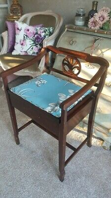 Antique Victorian Wooden Piano Stool with Inlay, Newly Upholstered, Under seat