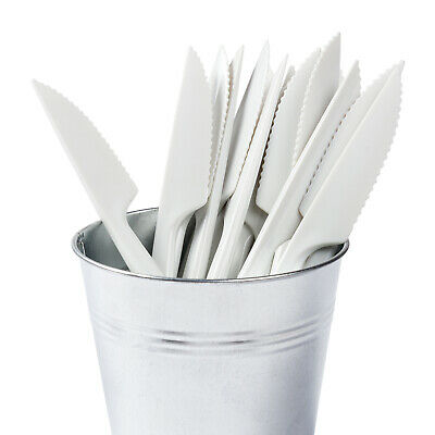 """Royal 7"""" Heavy Weight White Plastic Knives, Case 1,000, KABS1000"""