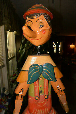 Vintage Marionette Wood Hand Carved Large Pinocchio 26 inches