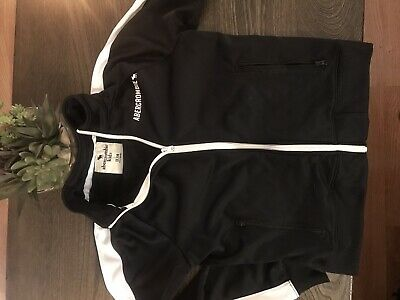 Abercrombie & Fitch Kids Boys Size 11/12 Zip-Up Track Jacket Black And White