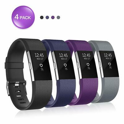 For Fitbit Charge 2 Bands (4 Pack), Silicone Adjustable Replacement Wristband fo
