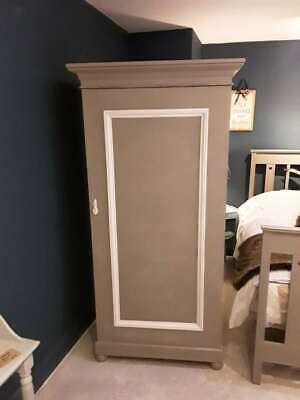 Beautiful Vintage Victorian Wardrobe Painted in Annie Sloan 'French Linen'