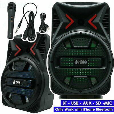"8""  600 Watts Portable Powered DJ Speaker Only Work w/ iPhone Bluetooth AUX USB"