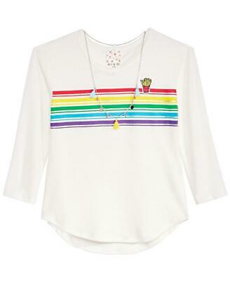 Belle Du Jour Big Girls Rainbow Necklace & Striped Long Sleeve Top MSRP $34 NWT