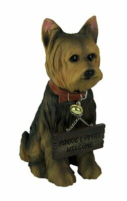 Ebros Gift Yorkie Dog with Double Sided Sign Indoor/Outdoor Statue