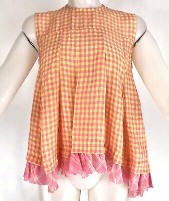 Tricot Comme Des Garcons Womens Gingham Plaid Swing Top Sleeveless sz Small NWT