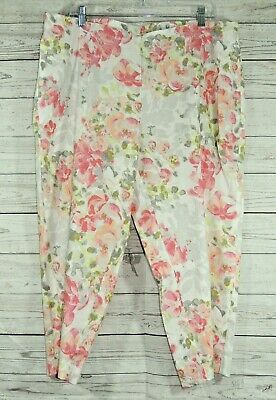 NEW J Jill Womens Stretch Floral Cropped Pants elastic waist Size XL Petite NWT