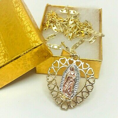 "Gold Plated Virgin Guadalupe pendant Heart Shape with Chain 20""22"" or 24"""