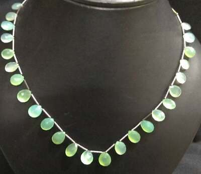 "Natural Chalcedony Gemstone 6X9-9X11mm Faceted Pear Briolette Beads 18"" Necklace"