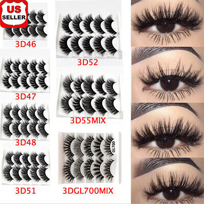 SKONHED 5 Pairs 3D Mink False Eyelashes Wispy Cross Fluffy Extension Lashes A+++