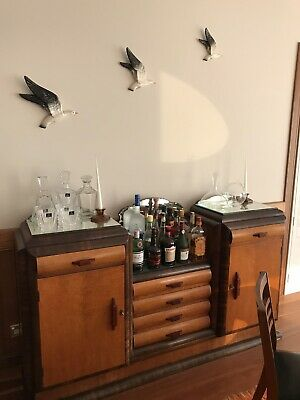 Art Deco Side Board with Bakelite Handles and Bevelled Mirrors