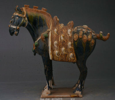 """14.8"""" Collect Old China Tang Sancai Pottery Dynasty Animal Horse Success Statue"""