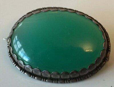 Superb Antique Art Deco Silver And Chrysoprase Brooch Pin