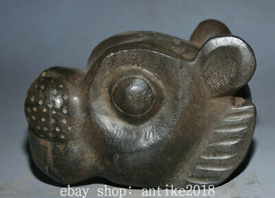 "6.8"" Old Chinese HongShan Culture Meteoric iron 12 Zodiac Year Tiger Head Statue"
