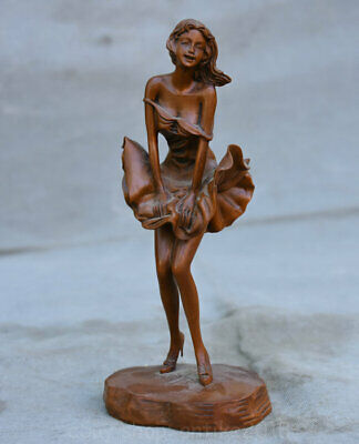 "7.2"" Old Chinese Dynasty Boxwood Wood Carved Dancing Girl Beauty Belle Statue"