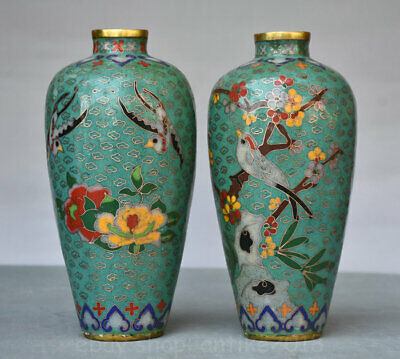 "8"" Marked Old China cloisonne Copper Ming Dynasty Flower Bird Bottle Vase Pair"