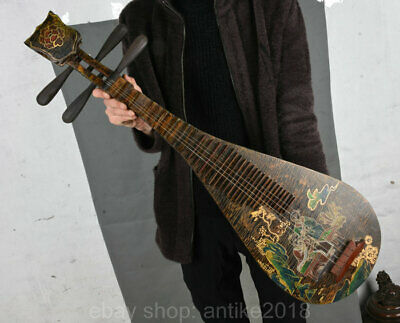 """36"""" Old Chinese lacquerware Wood Carving Old Man musical instrument pipa lute"""