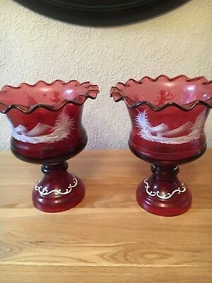Antique Mary Gregory genuine  Cranberry pair of vases bowls