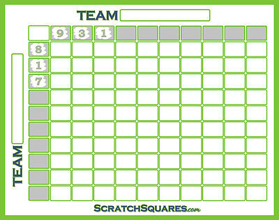 Pack of 10 - Scratch-Off Football Squares - 100 Square Grid Office Pool - White