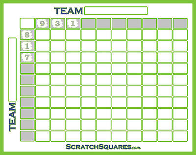 Pack of 5 - Scratch-Off Football Squares - 100 Square Grid Office Pool - White