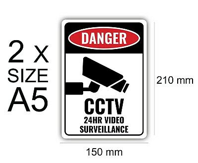 x2 A5 24 Hr CCTV, Protection,Stickers,Vinyl,Warning,Sign,Waterproof