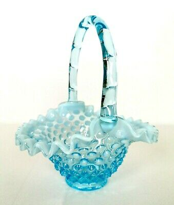 "Vintage FENTON Blue Opalescent Glass Vase Ruffled Bowl Hobnail Handle 8"" H USA"