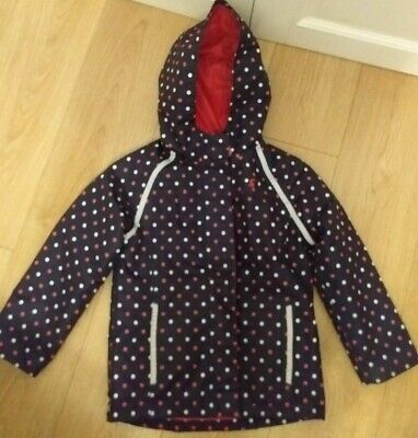 JOULES Girls Navy Blue Spotted Raincoat Fleece Lined Hooded Coat Age 8 128cm