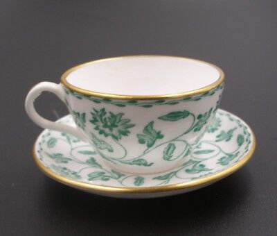 Spode Miniature China Cup & Saucer, Green Floral Pattern Immaculate Dolls House