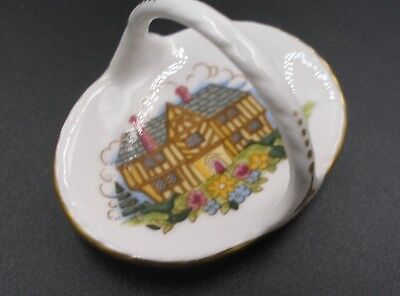 Spode Miniature China Basket in the Homestead Design, Dolls House, immaculate