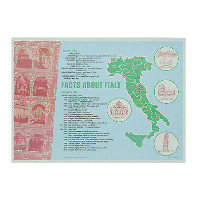 "Royal 10"" x 14"" Facts about Italy Placemats, Case of 1000, PMITALY-4G"