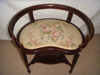 Superb Edwardian Inlaid Mahogany Dressing Table Stool Original Wool Work Seat