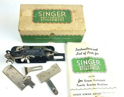 Vintage Singer Buttonhole Attachment 121795 Lock Stitch Sewing Machine w Parts