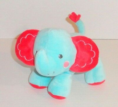 NWT Fisher Price Little Nuzzler Turquoise Red Crinkle Elephant Plush Rattle Toy