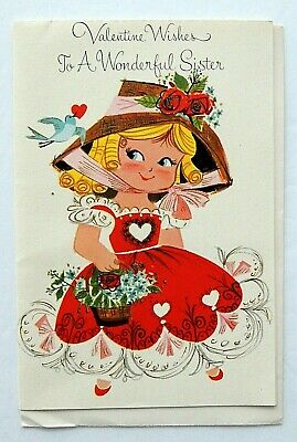Vtg 50's Pretty Girl with Bluebird VALENTINE Card for Sister Crystal Card UNUSED