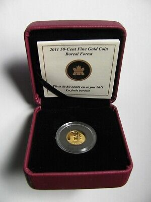 2011 Proof 50 cents Boreal Forest #1-Bird 1/25oz .9999 Gold Canada fifty