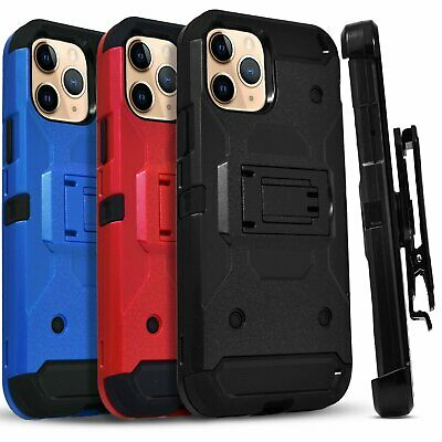 for iPhone 11 / Pro Max Case Belt Clip Kickstand Cover +Tempered Glass Protector