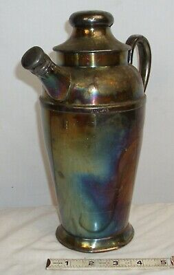 SILVER PLATED ART DECO COCKTAIL SHAKER 1930s SHARP