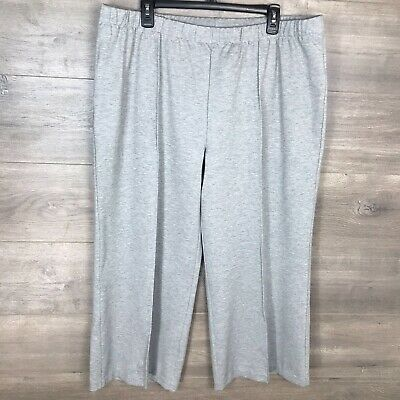 """H by Halston Womens 22W Ponte Knit Wide Leg Pull-On Crop Pants Gray 25"""" Inseam"""