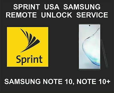 INSTANT REMOTE UNLOCK ANY CARRIER SAMSUNG Note 10, Note 10 Plus USA Sprint Only