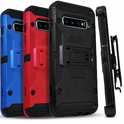 for Samsung Galaxy S10 S20 Plus Case Belt Clip Cover + Tempered Glass Protector