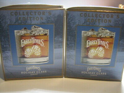 2 New In Box Early Times Kentucky Whisky Holiday Glasses Collector's Edition