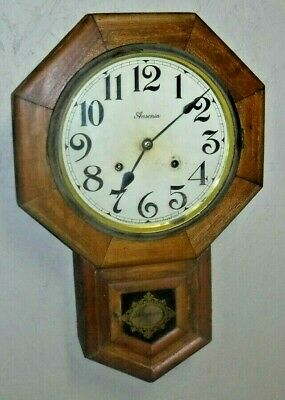 Antique 8 Day Ansonia N.y. Short Drop Wall Regulator Clean Dial Clock Working