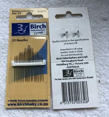 Birch betweens/quilting sewing needles size 3/9. 20 needles. new unused