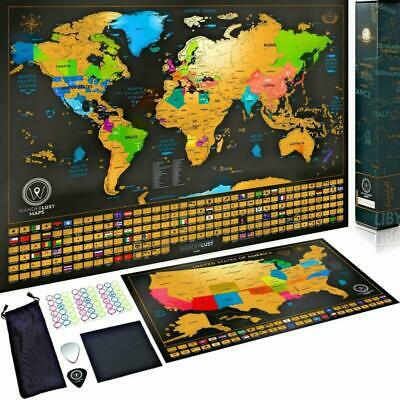 Scratch Off Map of the World + USA Map - Set of Two Deluxe Gold Scratch-Off Trav